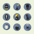 Halloween icons flat vector design Royalty Free Stock Photo