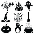 Halloween icons set 2 in black & white Royalty Free Stock Photo