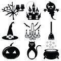 Halloween icons set 2 in black & white Royalty Free Stock Photo
