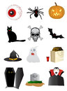Halloween icons set of design elements isolated on white Royalty Free Stock Images