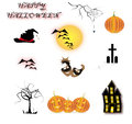 Halloween icons set of halo ween on a white background Royalty Free Stock Photo