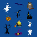 Halloween icons set vector illustration for your design on blue