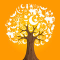 Halloween icons tree Stock Photo