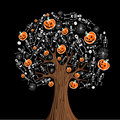 Halloween icons tree Royalty Free Stock Photo