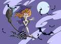 Halloween illustration of a cute witch Royalty Free Stock Image