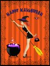 Halloween illustration of cute young witch with cauldron and bro