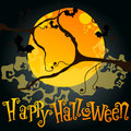 Halloween illustration with full Moon and bats Royalty Free Stock Photography
