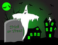 A halloween illustration with a ghost in front of haunted house Royalty Free Stock Photo