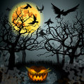 Halloween illustration with jack olantern vector full moon forest and crows Royalty Free Stock Images