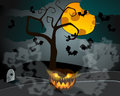 Halloween illustration with jack olantern vector full moon headstones and bats Stock Photography