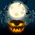 Halloween illustration with jack olantern vector full moon mist and bats Stock Photo