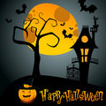 Halloween illustration with jack olantern vector full moon and scary house Royalty Free Stock Photos