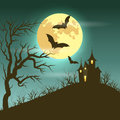 Halloween illustration of mysterious night landscape with castle and full moon vector eps Stock Photography