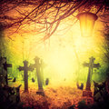Halloween illustration night cemetery Old graves cats lanterns Royalty Free Stock Photo