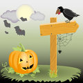 Halloween illustration pumpkin next to a wooden pointer raven and spider full moon clouds in the sky and flying bats Royalty Free Stock Photos