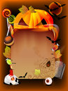Halloween illustration with pumpkin and old paper Royalty Free Stock Images