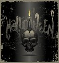 Halloween illustration with skull & candle Royalty Free Stock Images