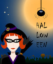 Halloween illustration with witch. Vector drawing for autumn festival.