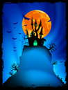 Halloween image with old mansion. EPS 8 Royalty Free Stock Image