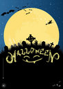 Halloween invitation or card in blue and black Stock Photo