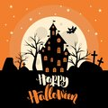 Halloween Invitation. Greeting Card Template With Cute   Pumpkins And Handwritten Inscription Phrase ` Happy Halloween`.