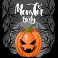 A Halloween Invitation. Monster Greeting Card Template, Pumpkins And A Handwritten Inscription With The Phrase `Monster Party`.