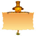 Halloween invitation with scarecrow character Royalty Free Stock Images