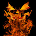 Halloween jack o lantern face fire background greeting design autumn fall with scary flaming pumpkin horror invitation and burning Royalty Free Stock Photography