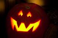 Halloween jack-o-lantern at night Royalty Free Stock Image
