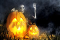 Halloween Jack-O-Lanterns and Ghoul Royalty Free Stock Photo