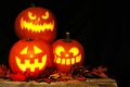 Halloween Jack o Lanterns illuminated at night Royalty Free Stock Photo
