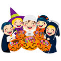 Halloween kids and candy five doing trick or treat holding pumpkin bags full of isolated on white background Stock Image