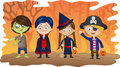 Halloween kids children dressed in fancy dress to go trick or treating on Royalty Free Stock Images