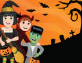 Halloween kids an illustration of three in costumes against a spooky backdrop Royalty Free Stock Photo