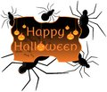 Halloween label artwork dedicated to with pumpkins spiders and bats Royalty Free Stock Photography