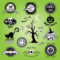 Halloween labels set of badges and icons happy night party trick or treat vector illustration Stock Image