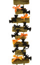 Halloween ladder with funny bows and bat figures cutouts isolated Stock Image
