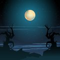 Halloween landscape illustration Royalty Free Stock Images