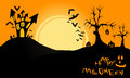 Halloween landscape at night has a castle on a hill pumpkins withered tree flying bats and the moon Stock Images
