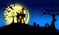 Halloween landscape at night has a castle on a hill pumpkins withered tree owl flying bats and the moon Royalty Free Stock Images