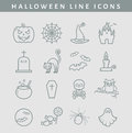 Halloween line icons. Vector set.