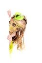Halloween little girl dressed as frankenstein on isolated Stock Image