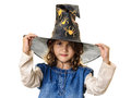 Halloween little girl evil eyes beautiful at with magician hat mysterious and look Royalty Free Stock Photography