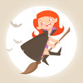 Halloween little witch cartoon character on the broomstick Stock Photo