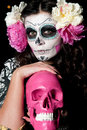 Halloween Living Dead Woman With Skull Royalty Free Stock Images