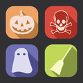 Halloween long shadow icon flat design vector icons collection set Stock Photography