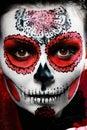 Halloween make up sugar skull Royalty Free Stock Photo