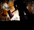 Halloween man with ax in a grave yard a scary creepy an walks toward the viewer concept for a theme Stock Photos