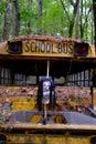 Halloween Mask on Old School Bus Royalty Free Stock Photo