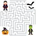 Halloween Maze - Dracula & Frankenstein Royalty Free Stock Photo